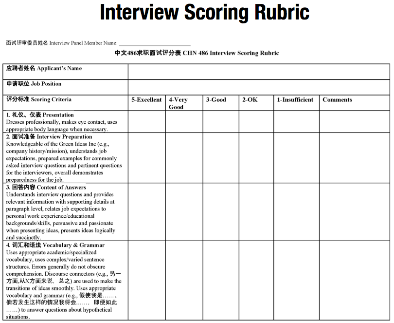 Interview Scoring Rubric